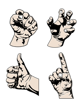 Various Hands in different poses Illustration