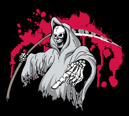 Death Grim Reaper Pointing and holding a scythe 版權商用圖片 - 30047059