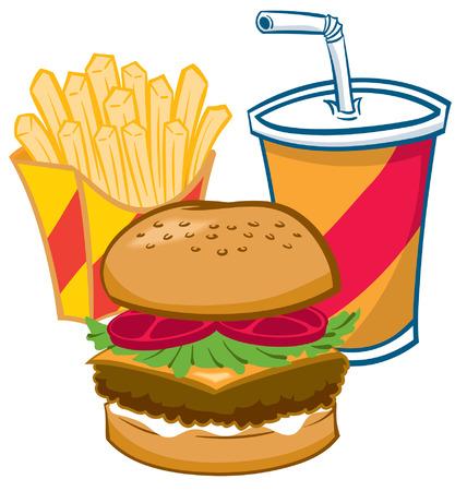 prepared potato: Cartoon Fast food Fries, hamburger, drink Illustration