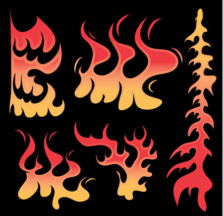 Various illustrated firey flames