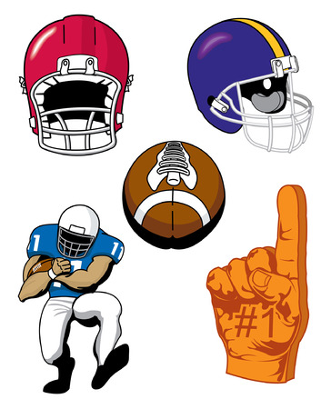 touchdown: Various illustrations of Sports football items Illustration