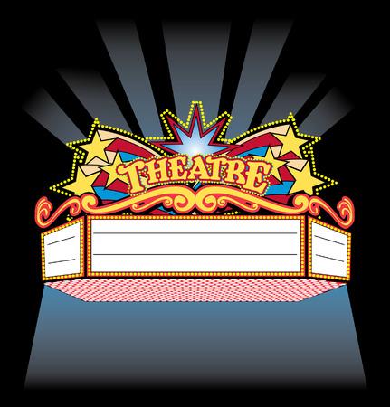 明るくカラフルなスポット ライト showtime 劇場マーキー  イラスト・ベクター素材