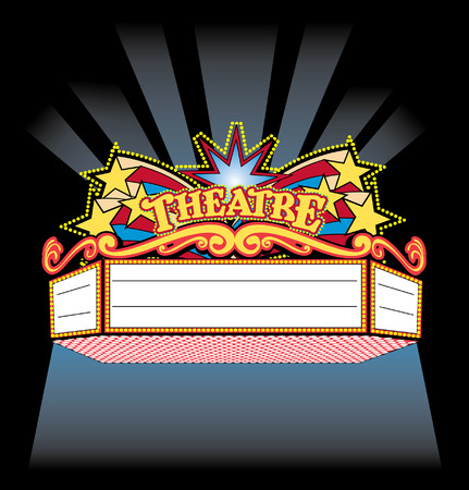 movie theater: Bright Colorful spot light showtime Theatre Marquee Illustration