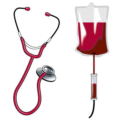 Stethascope blood drip Illusztráció
