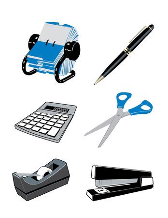 プロのオフィスの机の上に属する様々 な項目  イラスト・ベクター素材