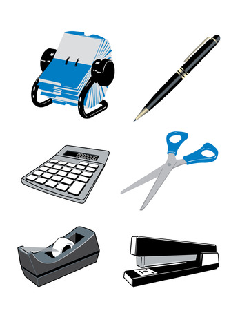 belonging: Various items belonging on top of a desk in a professional office