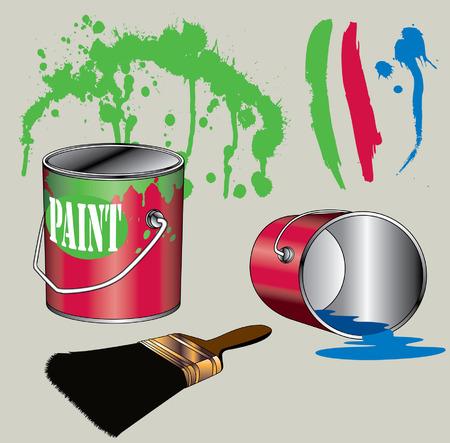 様々 なペンキ缶・画付け材料  イラスト・ベクター素材