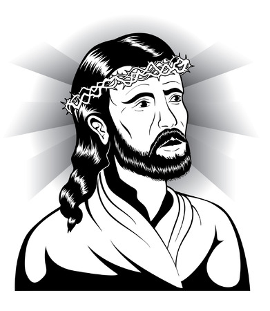 crown of thorns: Jesus and crown of thorns Illustration
