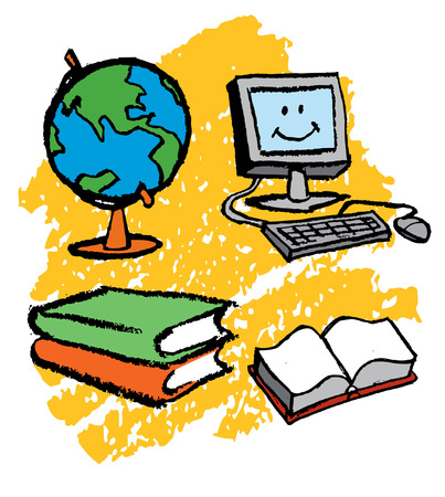 Computer globe and books for kids Vector