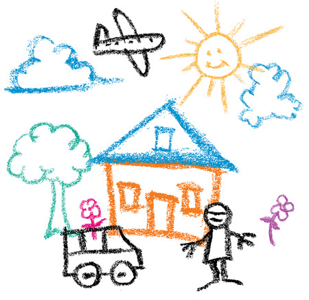 paper airplane: Kids Crayon Drawing of sunny day house and man and car
