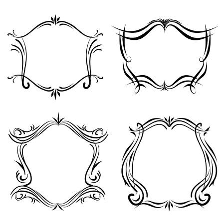 Decorative Line art western victorian frames 向量圖像