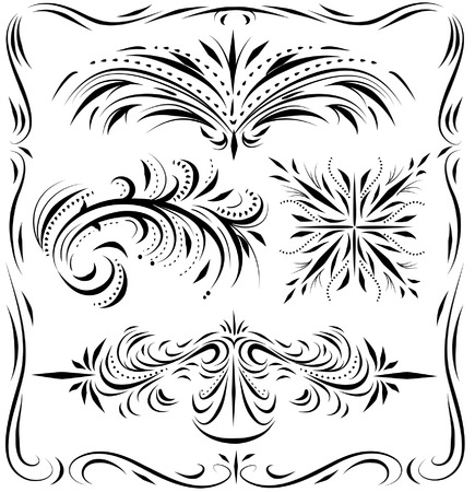 Calligraphic lines dividers and hand drawn design elements 向量圖像
