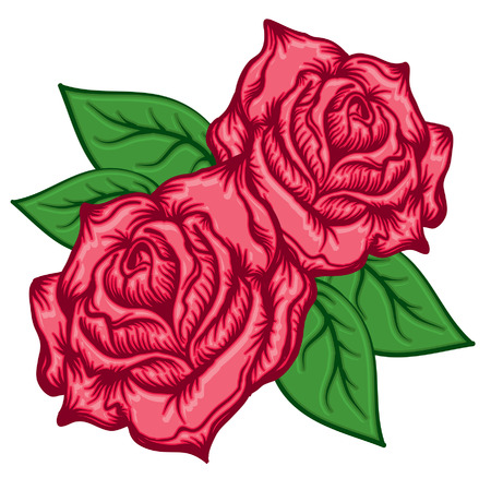 Red Roses an Leaves Illustration