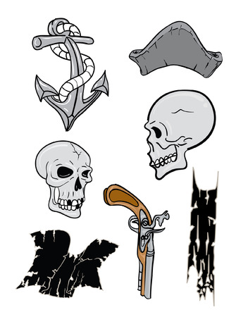 sailor hat: Pirate skull and hat and gun Illustration