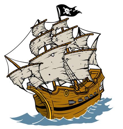 Weathered Pirate Ship Illustration