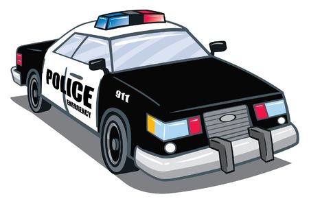 漫画の警察車  イラスト・ベクター素材