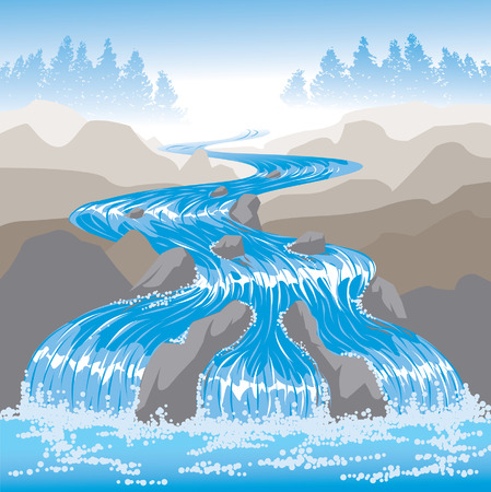rapid: River waterfall Illustration