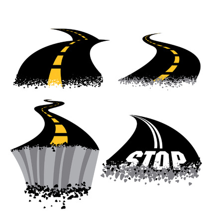 Crumbling cracked curving Road Highways Vector