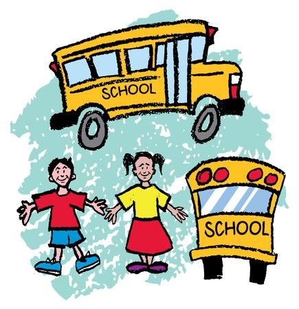 子供と学校のバス  イラスト・ベクター素材