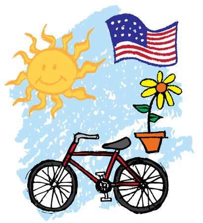 Bike sun flag kids