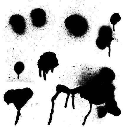 Various Spray paint graffiti decorative splatters