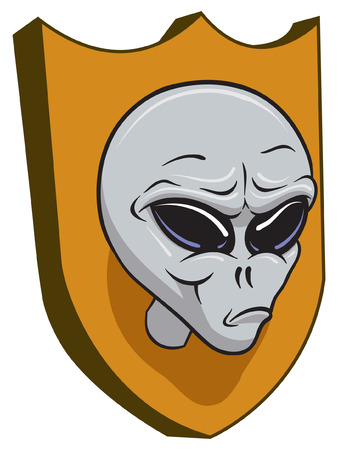 An Illustration of a Alien head on a trophy for wall Vector