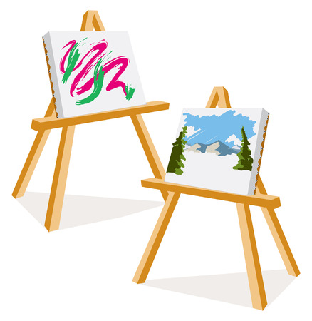 Een illustratie van twee schildersezels met kleurrijke schilderijen