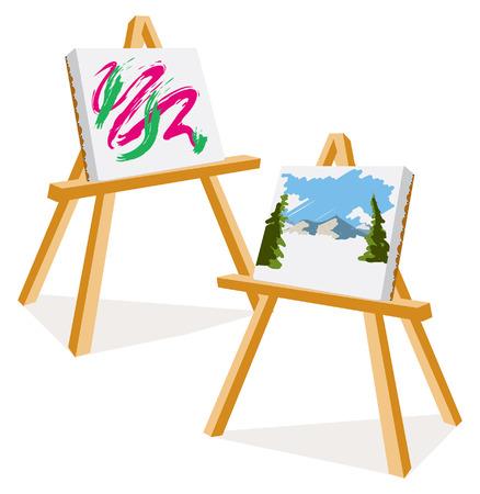 pintor: Una ilustraci�n de dos caballetes con pinturas de colores Vectores