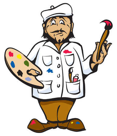 french culture: Cartoon Artist Color pallet white coat and hat.