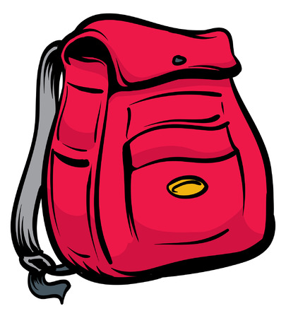 An Illustration of a black and red backpack 向量圖像