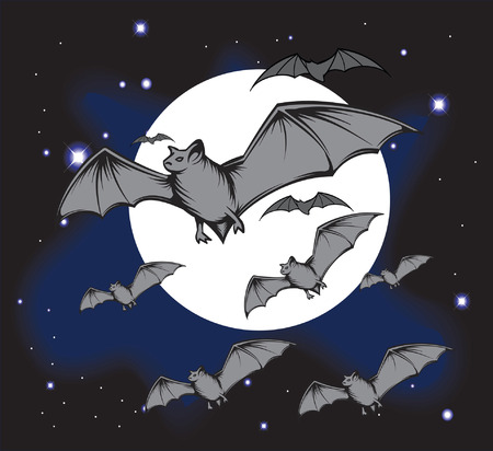 An Illustration of a Groub of bats flying through the sky