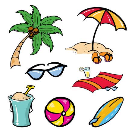 Various cartoon beach aquatic tropical items
