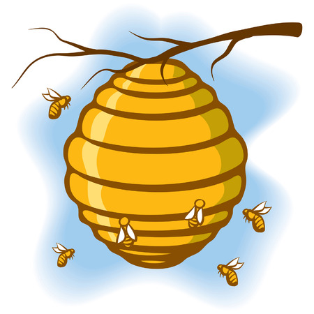 An Illustration of a beehive suspended from a tree with bees around it Illustration