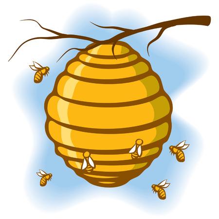 abeja caricatura: Una ilustración de una colmena suspendida de un árbol con las abejas a su alrededor Vectores
