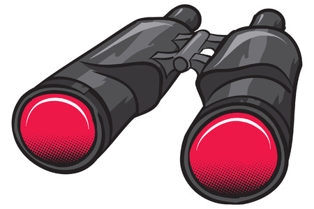 A bold black and red Binoculars, shaded.