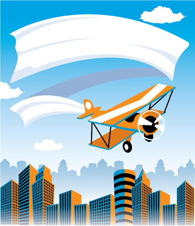 Biplane flying over city with banner advertisement