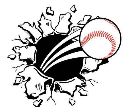 punched through: Sports Baseball violently busting through the wall Illustration