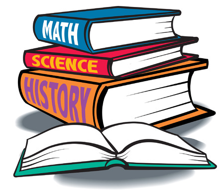 A group of colorful Text books, Math, Science, History.
