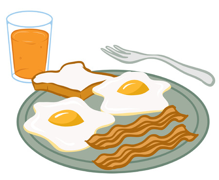 An Illustration of a plate of breakfast food Zdjęcie Seryjne - 35459057