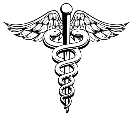 caduceus snake with stick: Medical Symbol Caduceus with snakes and wings