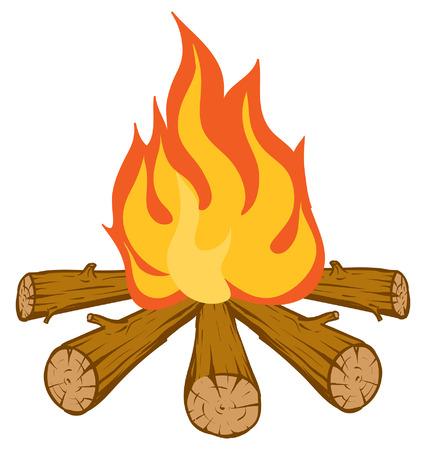 Een illustratie van een brandende oranje en rode kampvuur Stock Illustratie