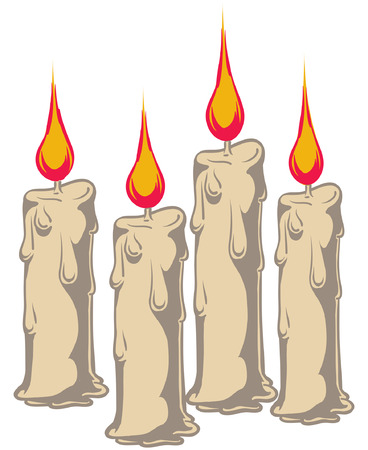 An Illustration of four burning wax candles