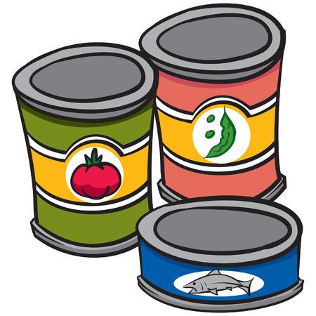 食品の缶を 3 つのイラスト  イラスト・ベクター素材