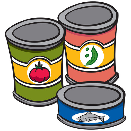 An Illustration of three cans of food Vectores