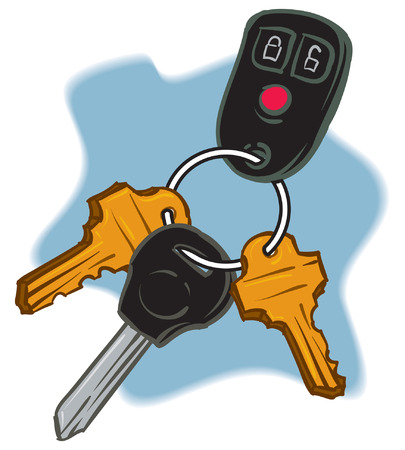 trio: An Illustration of a trio of Keys on a keychain.