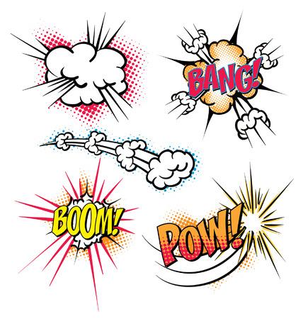 Various colorful cartoon explosion bubbles. Boom,Bang,Pow.