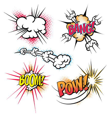 Various colorful cartoon explosion bubbles. Boom,Bang,Pow.