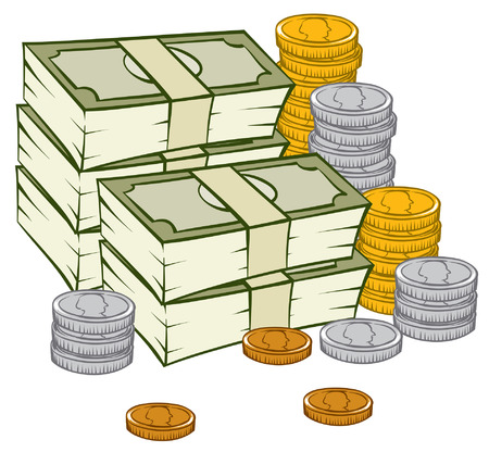 An Illustration of a stack of money and coins