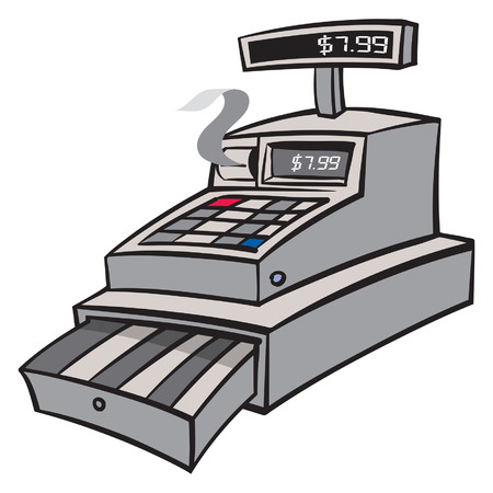 A grey industrial cash register with reciept Ilustração