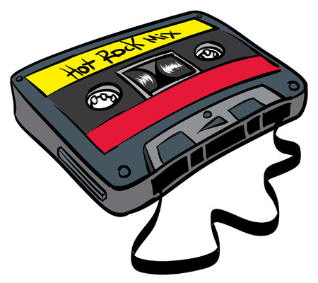 Old time cassette tape hot rock mix, ribbon out.